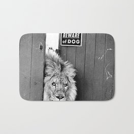 Beware of Dog black and white photograph of attack lion humorous black and white photography Bath Mat