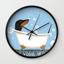 Dachshund Bath Wash Your Wiener Dog Art Wall Clock