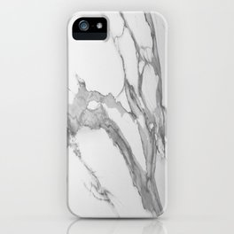 White Marble With Silver-Grey Veins iPhone Case
