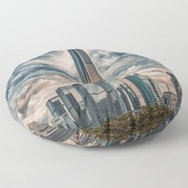 Cityscape, city view, architecture, Shenzhen downtown (China) (2018-6-SHZ7art) Floor Pillow