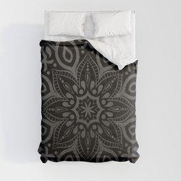Elegant silver grey mandala on black Comforters