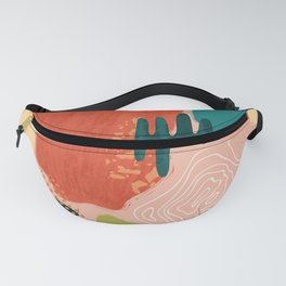 Abstract organic colorful shapes composition Fanny Pack