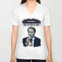 hannibal V-neck T-shirts featuring Hannibal by firatbilal