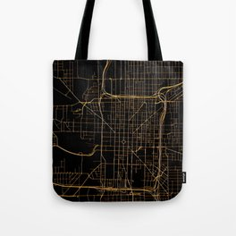 Black and gold Indianapolis map Tote Bag