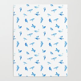Blue Birds Pattern Poster