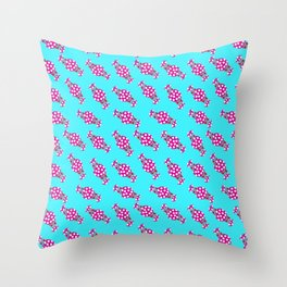 cute candy in pink polka dot wrappers against blue background children design Throw Pillow