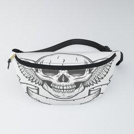 Vintage monochrome logo template with skull and eagle wings with ribbon isolated vector illustration Fanny Pack
