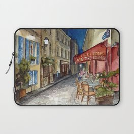 Postcards from Paris - Montmartre by Night: Le Tire-Bouchon Creperie Laptop Sleeve