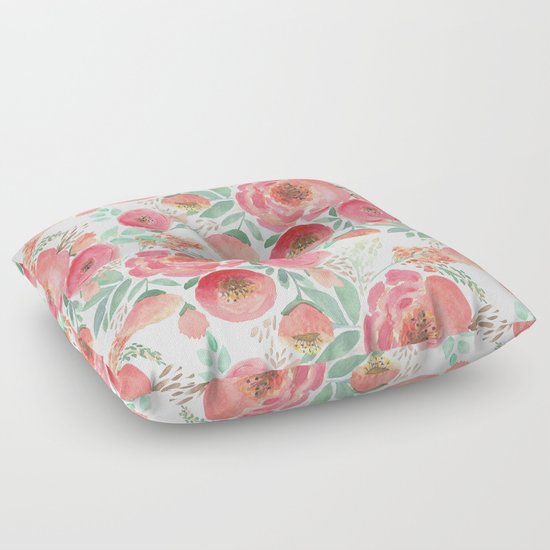 Floral pattern 5 Floor Pillow by Marinaklykva Society6
