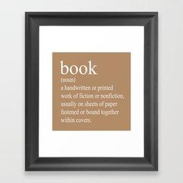 Book Definition (White on Tan) Framed Art Print