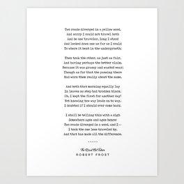 The Road Not Taken - Robert Frost Poem - Minimal, Sophisticated, Modern, Classy Typewriter Print Art Print