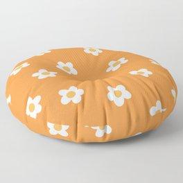 Summer Orange Flower Pattern Floor Pillow