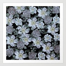 Roses at Night Art Print