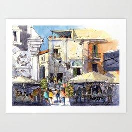 Strolling in Capri Art Print