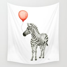 Baby Zebra Whimsical Animal with Red Balloon Nursery Art Wall Tapestry