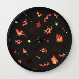 Flame design pattern with stars Wall Clock