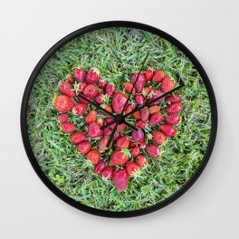 Strawberries heart Wall Clock