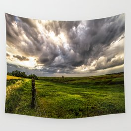 The Prairie - Golden Light Drenches Landscape After Storms in Nebraska Wall Tapestry