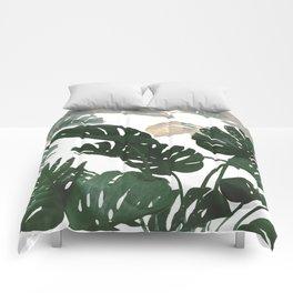 green leaves monstera Comforters