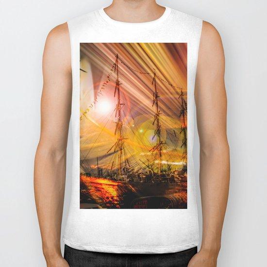 Sailing ships sunset Biker Tank