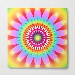 Summer Flower Multicolored Pattern Metal Print