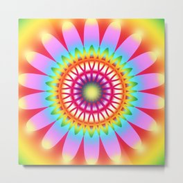 Summer Flower Multicolored Pattern Metal Print