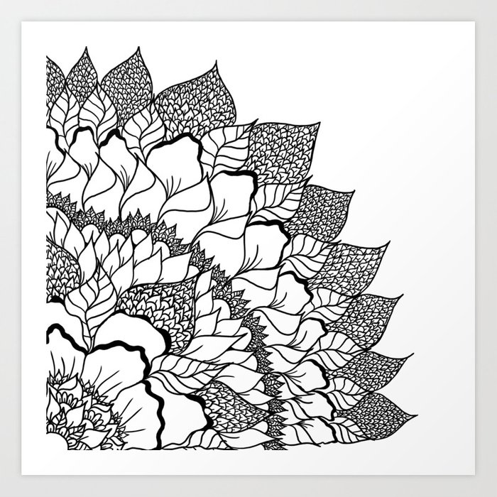 Modern Handdrawn Fl Mandala Black White Pattern Art Print