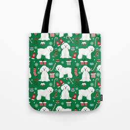 Bichon Frise Christmas dog breed pattern mittens stockings presents dog lover Tote Bag
