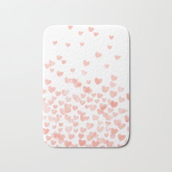 Hearts falling painted pastels heart pattern minimal art print nursery baby art Bath Mat