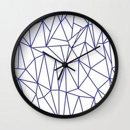 Geometric Cobweb (Navy Blue & White Pattern) Wall Clock