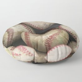 Many Baseballs - Background pattern Sports Illustration Floor Pillow