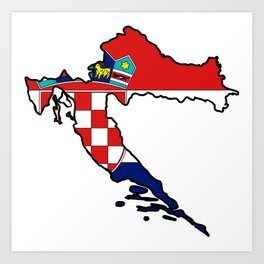 Croatia Map with Croatian Croat Flag Art Print