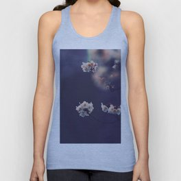 Beautiful White Flower Blossoms Against Purple Background Unisex Tank Top