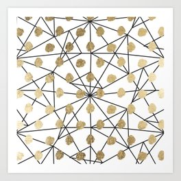 Black faux gold geometrical chic polka dots Art Print
