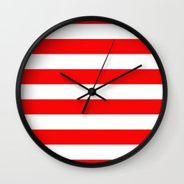 Jumbo Berry Red and White Rustic Horizontal Cabana Stripes Wall Clock
