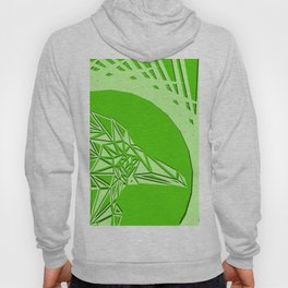 Bright abstract olive bird on a green background in the nest. Hoody