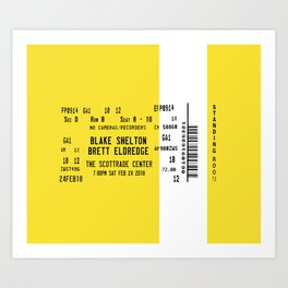 Concert Ticket Stub - Blake Shelton Art Print