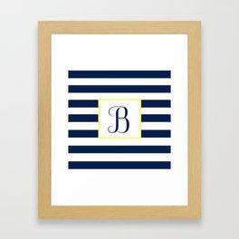 Monogram Letter B in Navy Blue it Yellow Outlined Box Framed Art Print