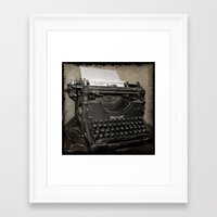 typewriter Framed Art Prints featuring typewriter by planejane