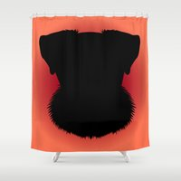 schnauzer Shower Curtains featuring Miniature Schnauzer by threeblackdots