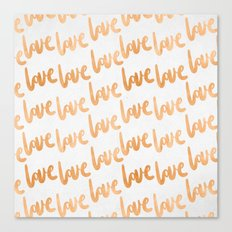 Valentines Day Copper Bronze Gold Love Word Typography Pattern Canvas Print