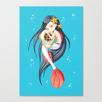 little mermaid Canvas Prints featuring Mermaid by Freeminds