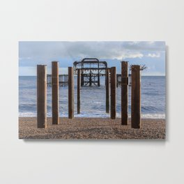 The old Palace pier in Brighton  Metal Print