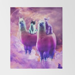 Kitty Cat Riding On Rainbow Llama In Space Throw Blanket