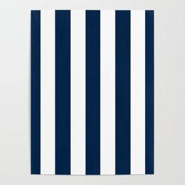 Oxford blue - solid color - white vertical lines pattern Poster