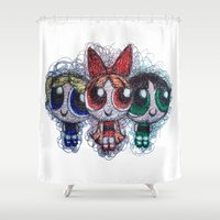 supergirl Shower Curtains featuring powerpuff girls doodle/scribble by Patricia Pedroso