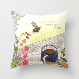 Morning Buzz Throw Pillow