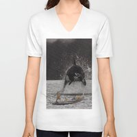 orca V-neck T-shirts featuring Orca by Lerson
