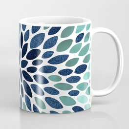 Flower Bloom, Aqua and Navy Coffee Mug