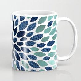 Flower Bloom, Aqua and Navy Coffee Mug